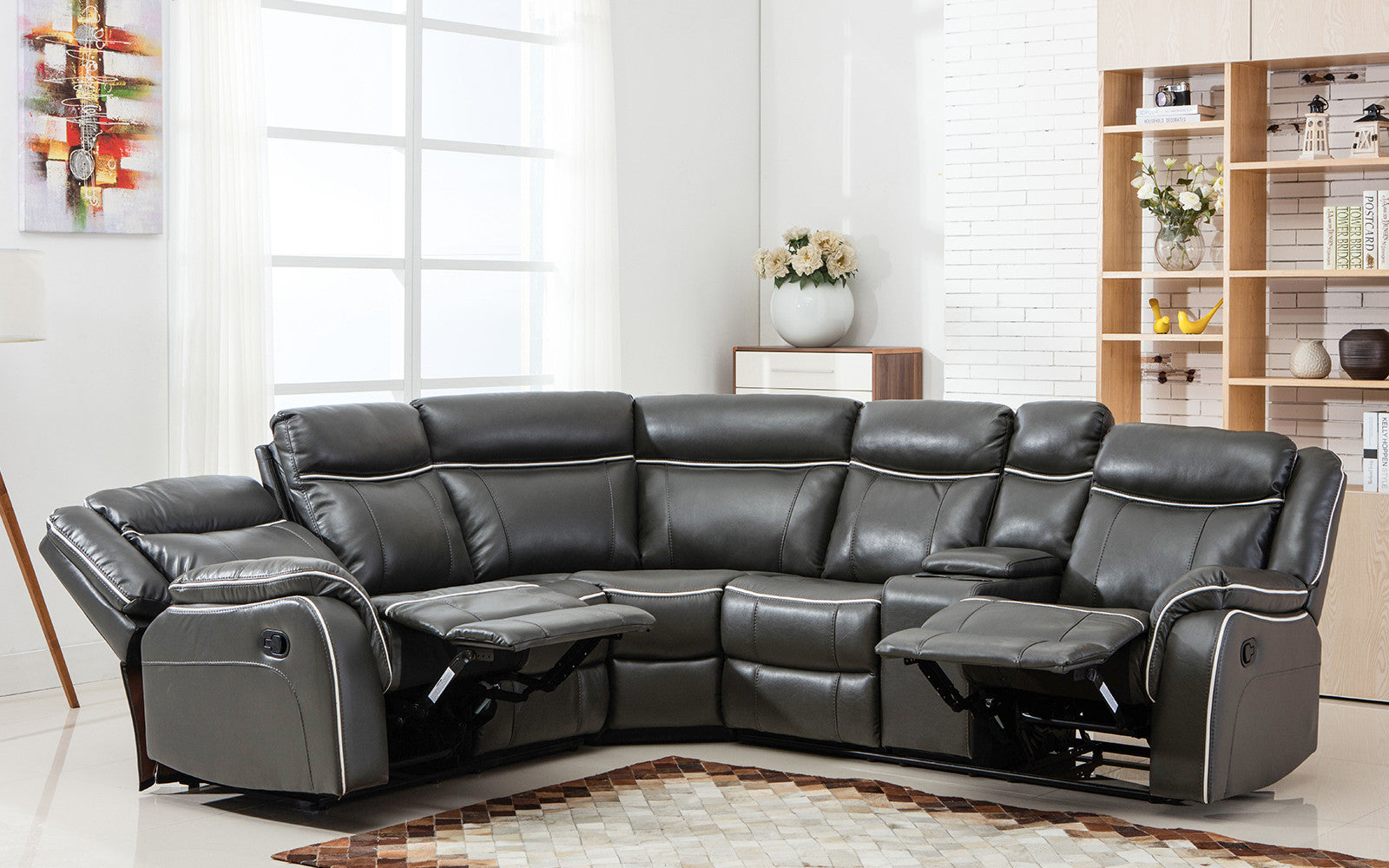 paul classic bonded leather recliner sectional in charcoal