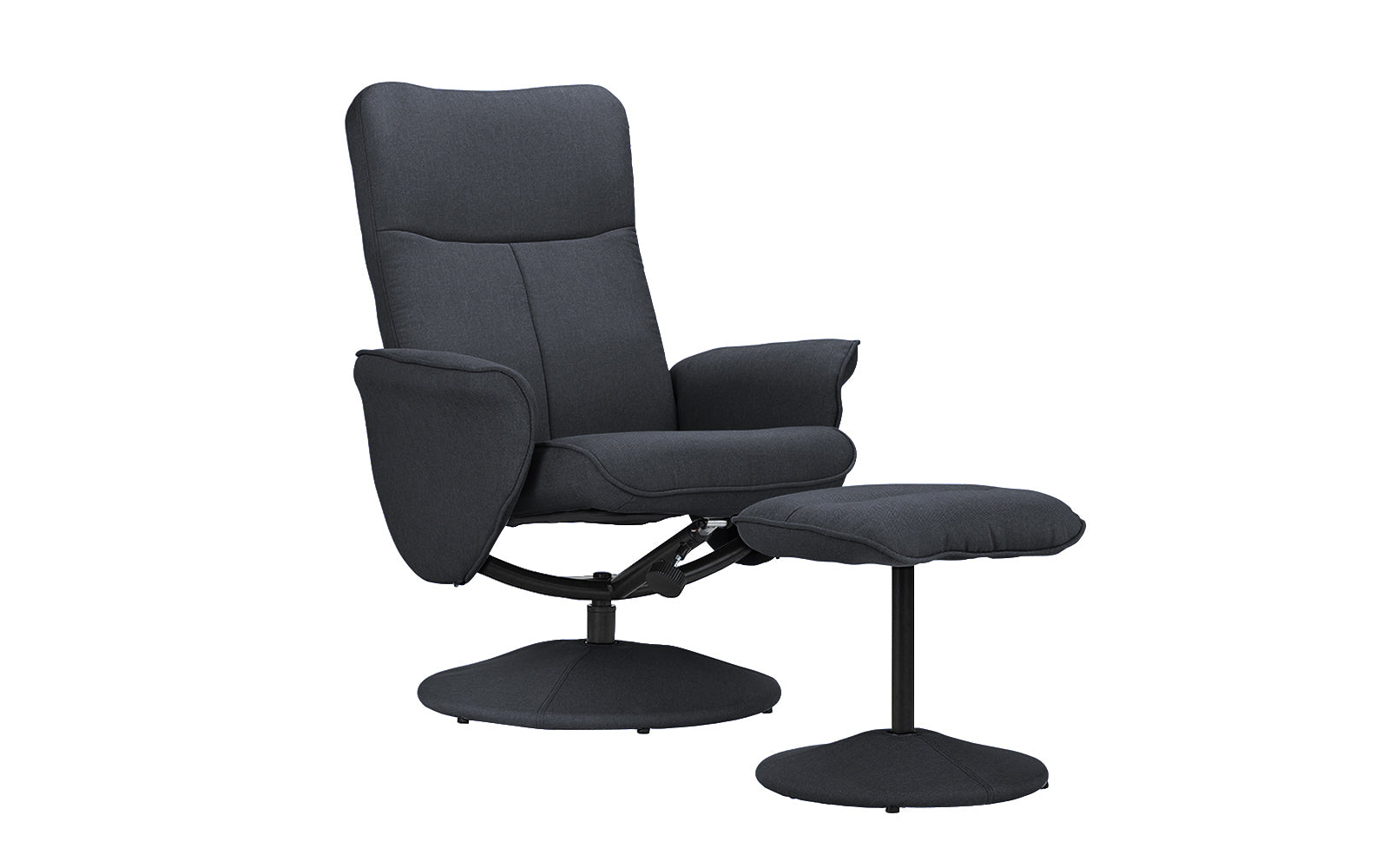 ... Hal Modern Fabric Recliner Chair With Footstool Dark Grey Angle Shot ...