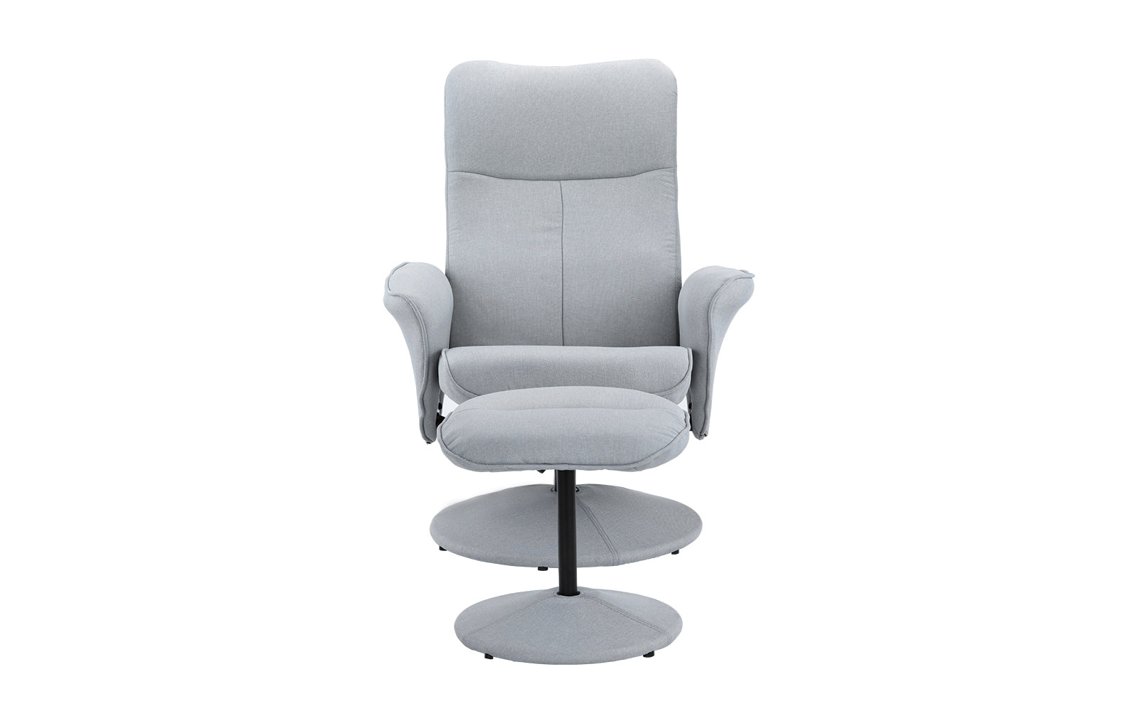 ... Hal Modern Fabric Recliner Chair With Footstool Light Grey ...