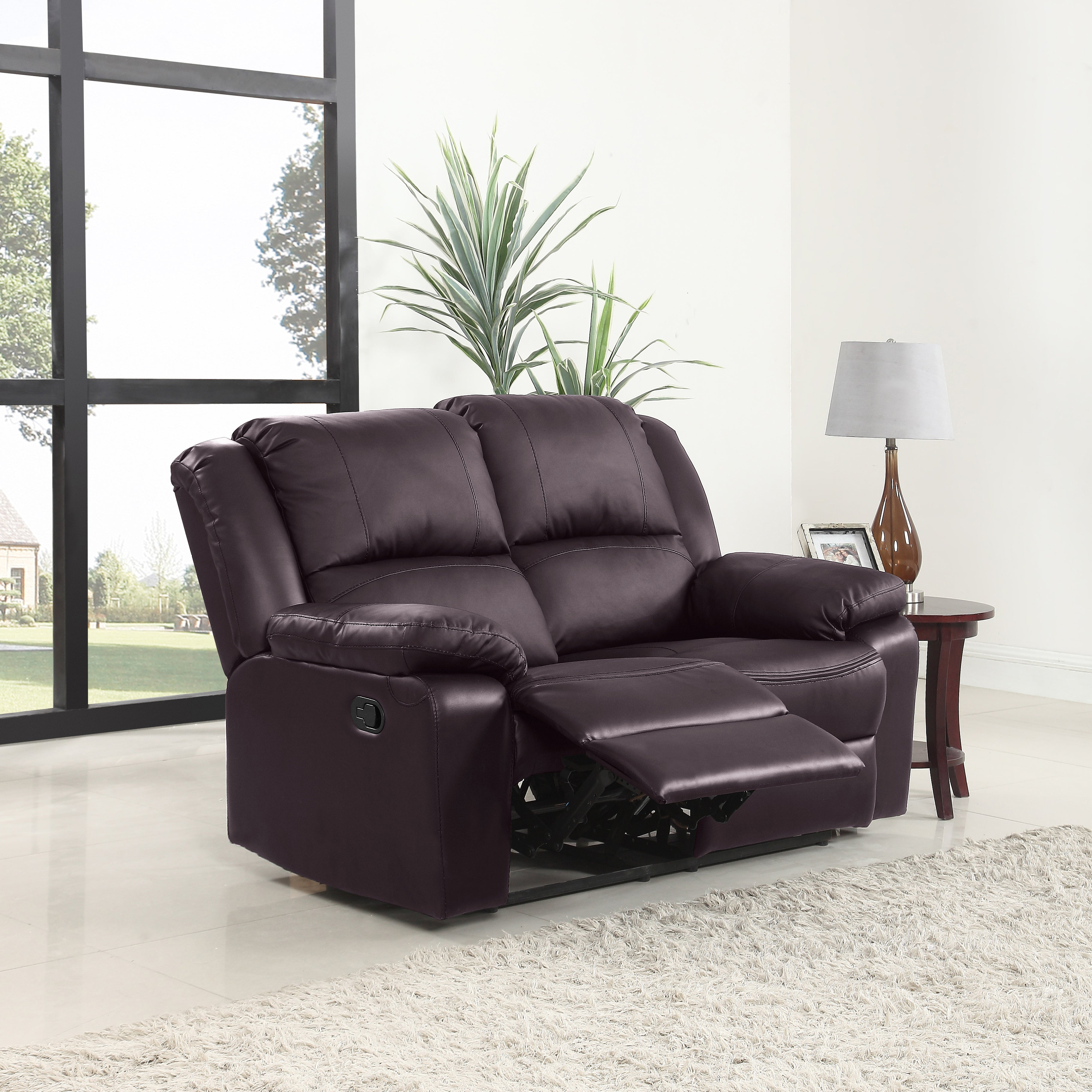 Breah 3 Piece Air Leather Chair Recliner Set In Black