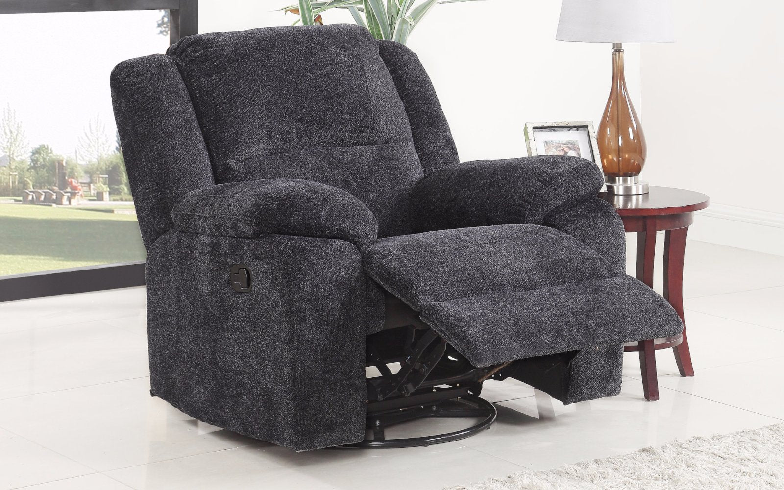 ... Asturias Traditional Classic Microfiber Rocker And Swivel Recliner Chair  Dark Grey Lifestyle ...
