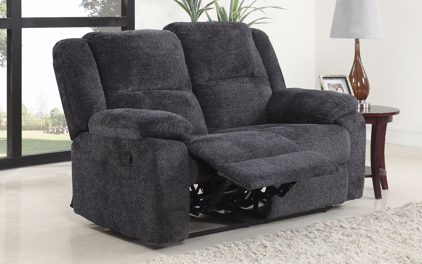 Asturias traditional classic microfiber double recliner loveseat dark grey lifestyle