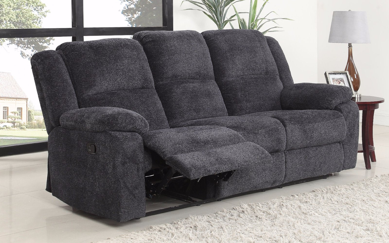 ... Asturias Traditional Classic Microfiber Double Recliner Sofa   Dark Grey  Side ...