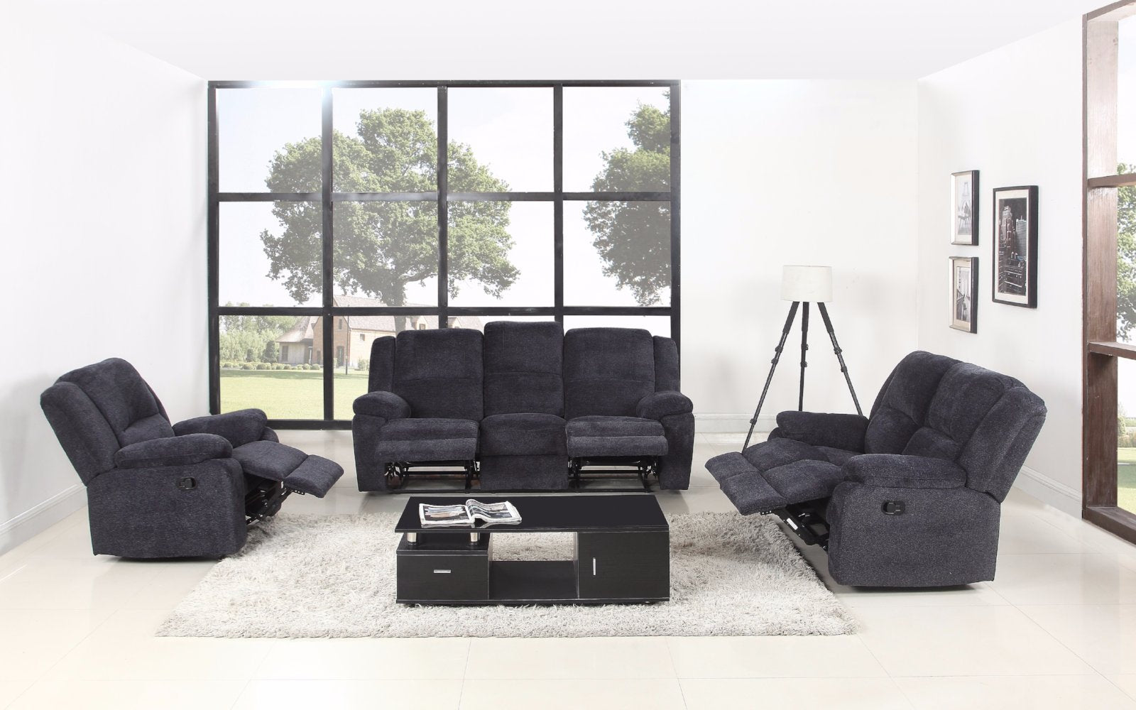 Captivating Asturias Traditional Classic 3 Piece Microfiber Recliner Living Room Set    Dark Grey ...