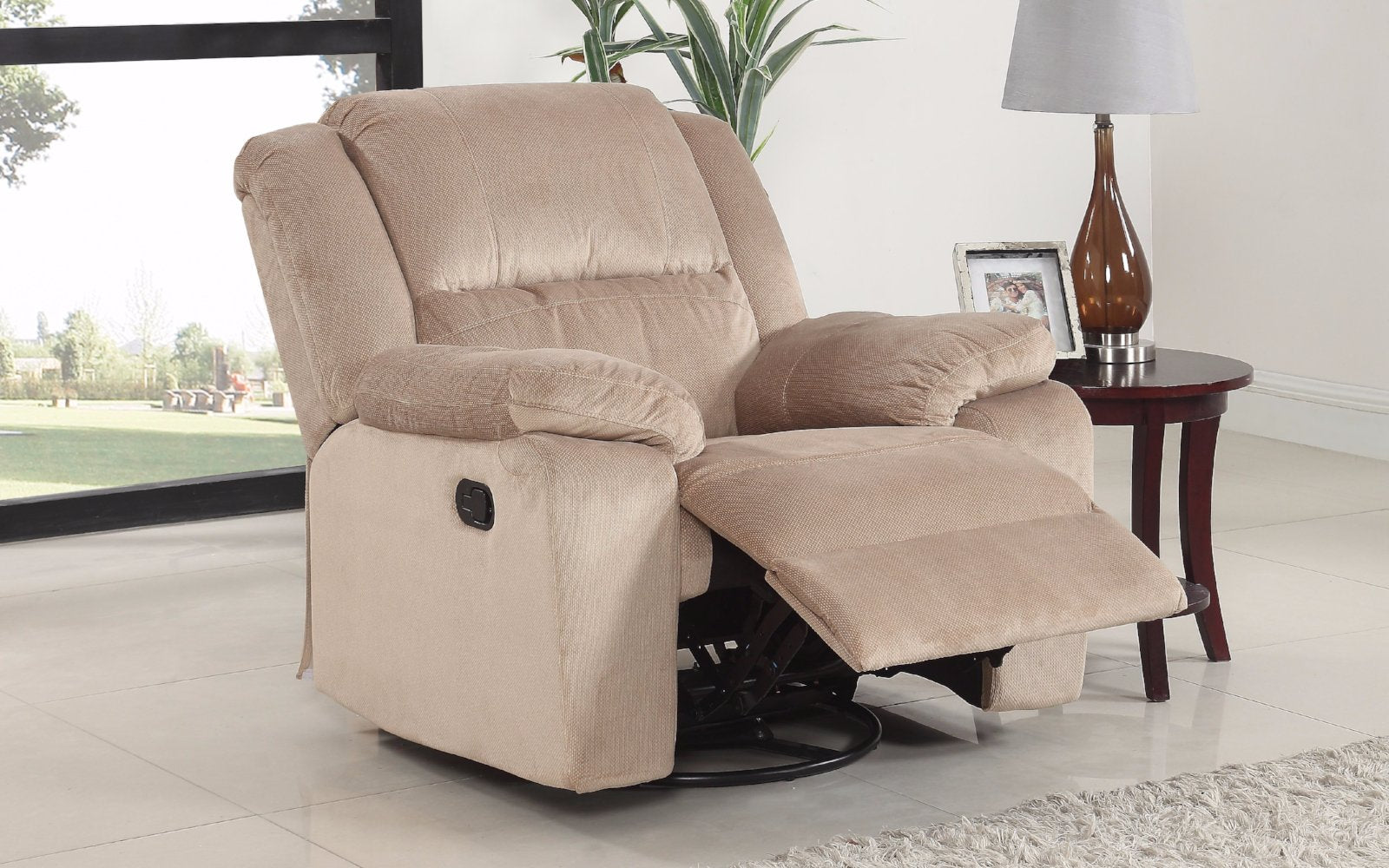 asturias traditional classic microfiber rocker and swivel recliner chair lifestyle