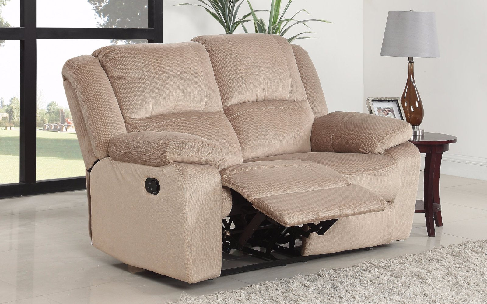 asturias traditional classic microfiber double recliner loveseat lifestyle