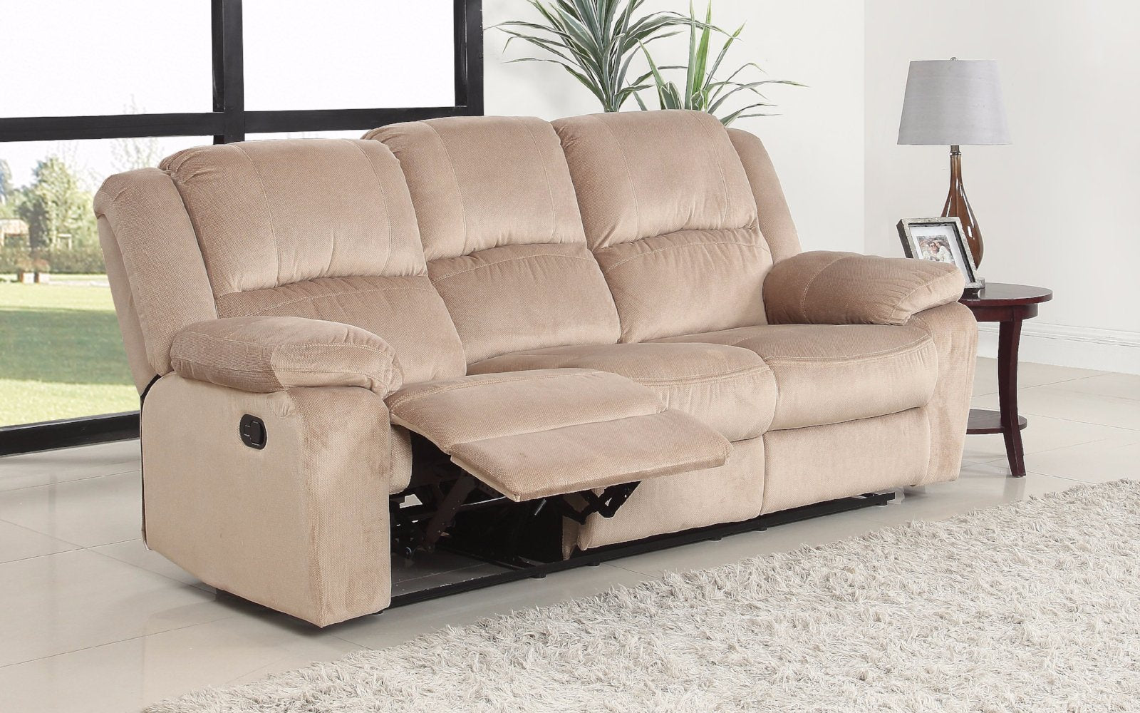 ... Asturias Traditional Classic Microfiber Double Recliner Sofa   Beige  Side ...