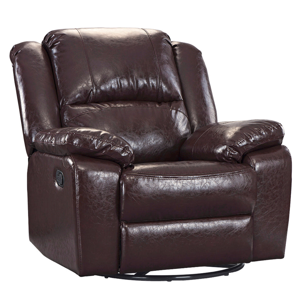 ... Jerry Oversized Bonded Leather Recliner Brown ...