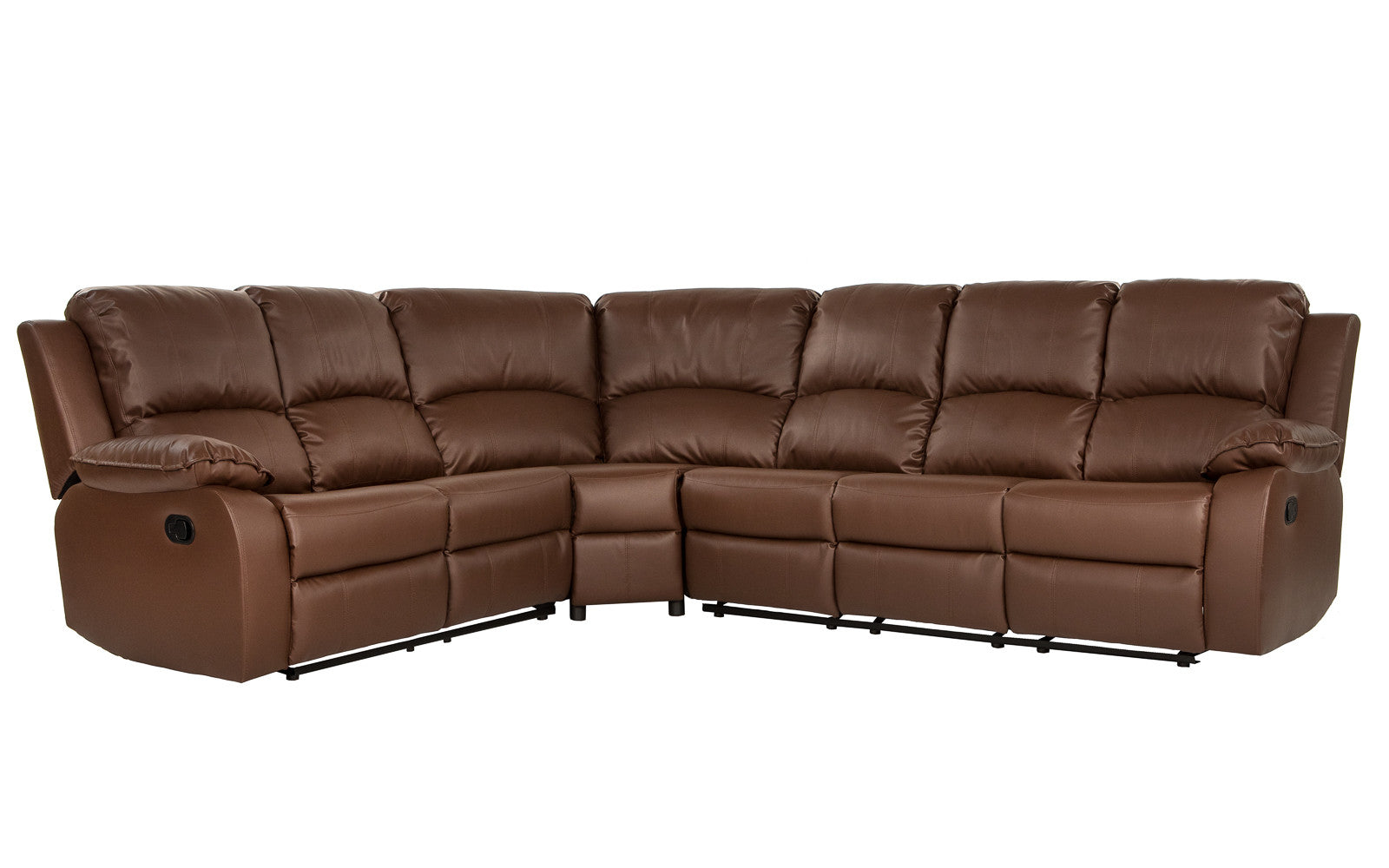 Bond Classic 6-Seat Leather Reclining Sectional Sofa ...