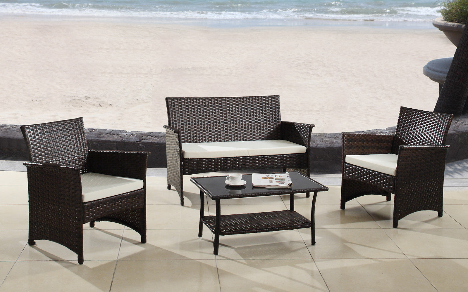 Halawa Modern 4 Piece Rattan Outdoor Set Sofamania Com