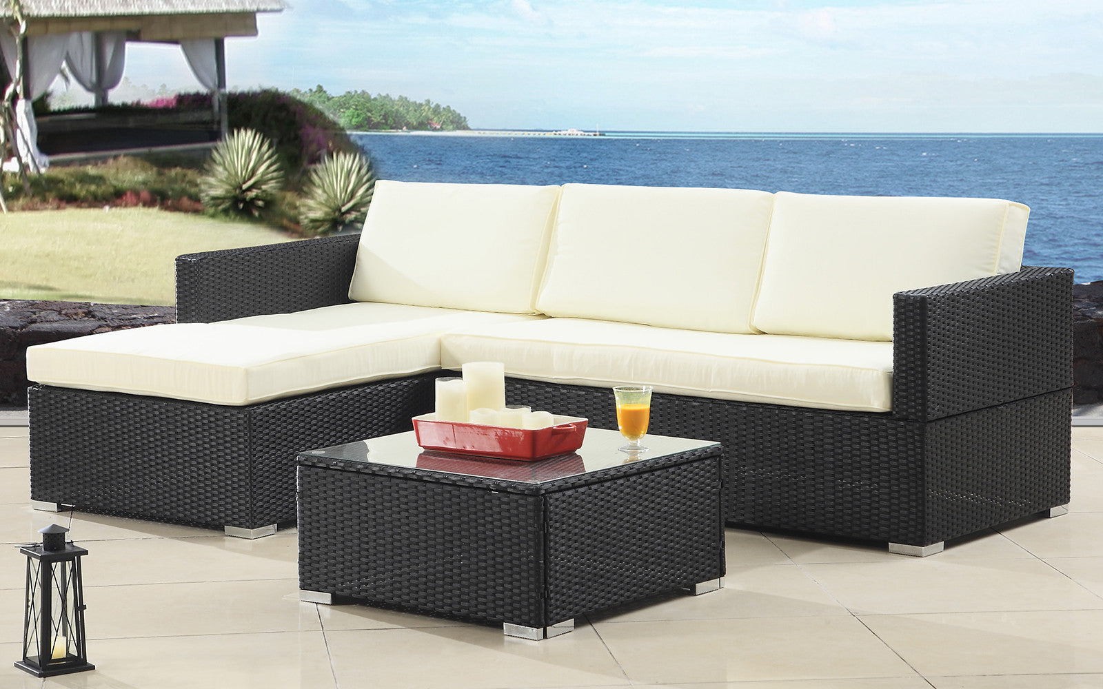 ... Hilo Modern Outdoor Sectional With Coffee Table In Ivory And Black ...