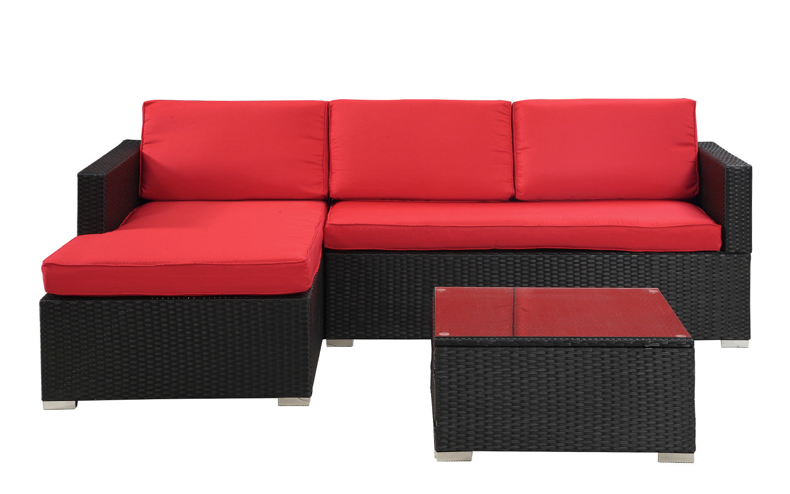 Hilo Modern Outdoor Sectional With Coffee Table In Red And Black ...