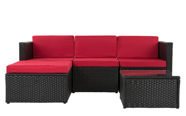 Kilauea Modern Small Sectional With Coffee Table In Red Black