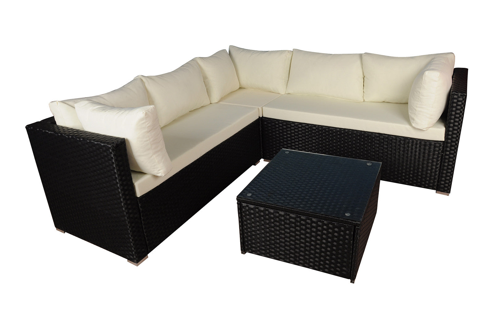 Outdoor Rattan Summer Sun Sectional Coffee Table Set Image