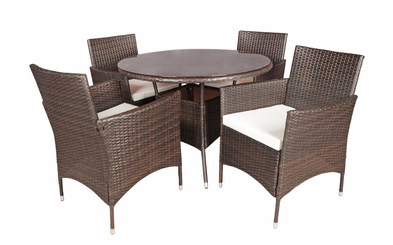 ... Malibu Outdoor Dining Table And Chairs Set Brown ...