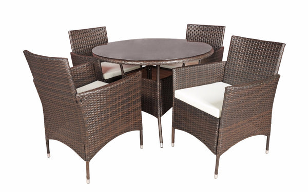 Malibu Classic Rattan Outdoor Dining Table And 4 Chairs Set