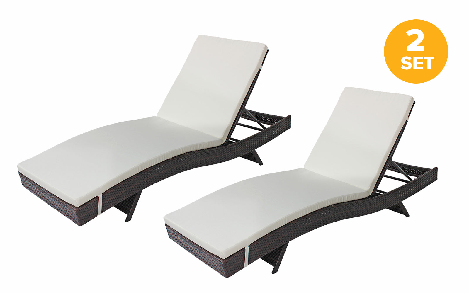 Marina Set Of 2 All Weather Modern Outdoor Patio Chaise Lounge Chairs