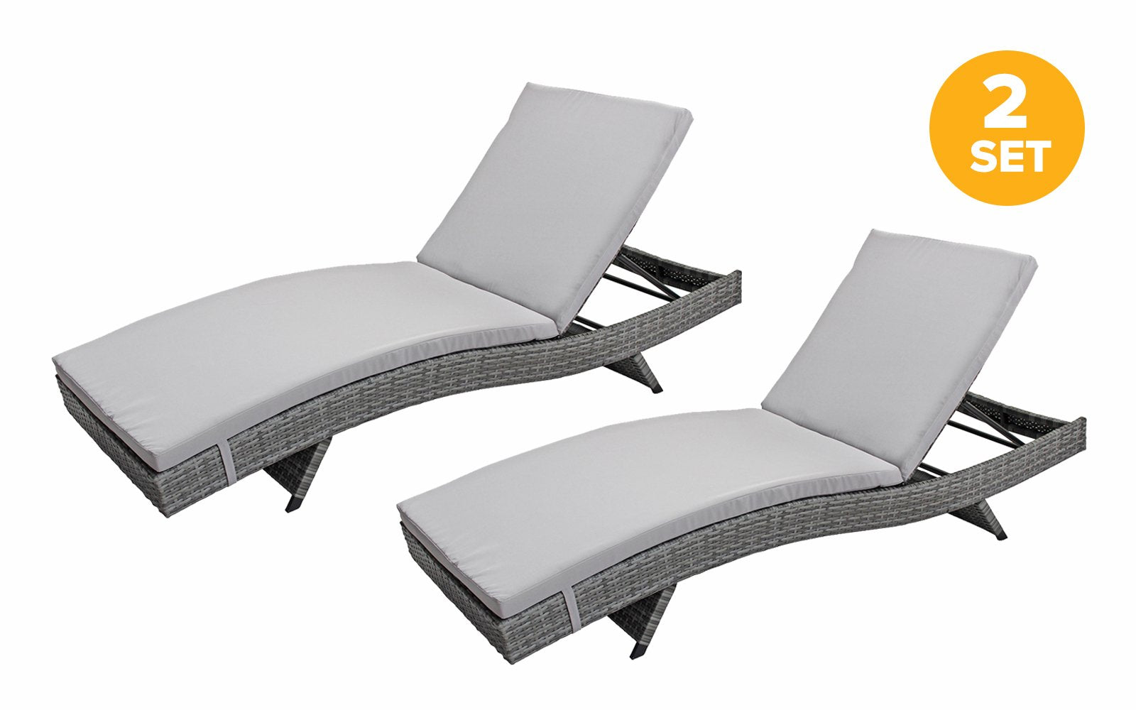 Swell Marina Set Of 2 All Weather Modern Outdoor Patio Chaise Spiritservingveterans Wood Chair Design Ideas Spiritservingveteransorg