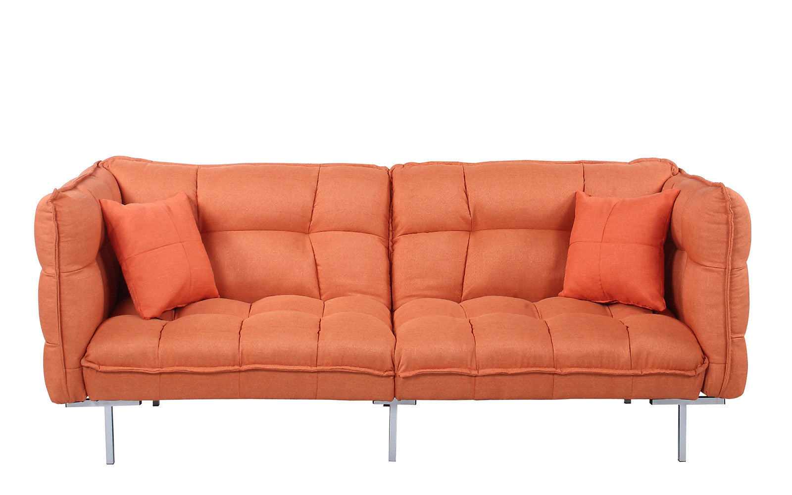 scoop modern tufted linen futon in orange     scoop modern tufted linen futon   sofamania    rh   sofamania