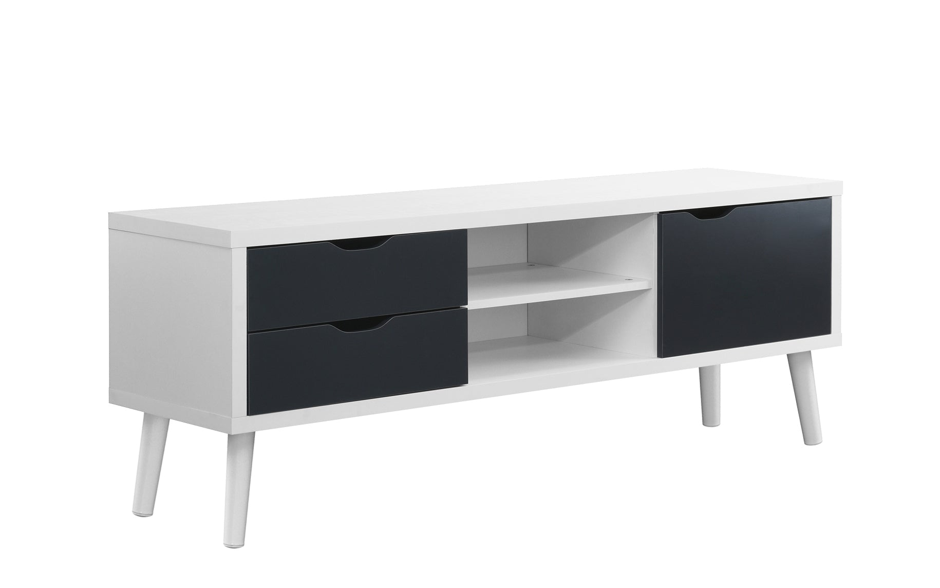 save off 9418d ecc05 Parrish Mid Century Modern TV Stand Credenza with 2 Side Cabinets