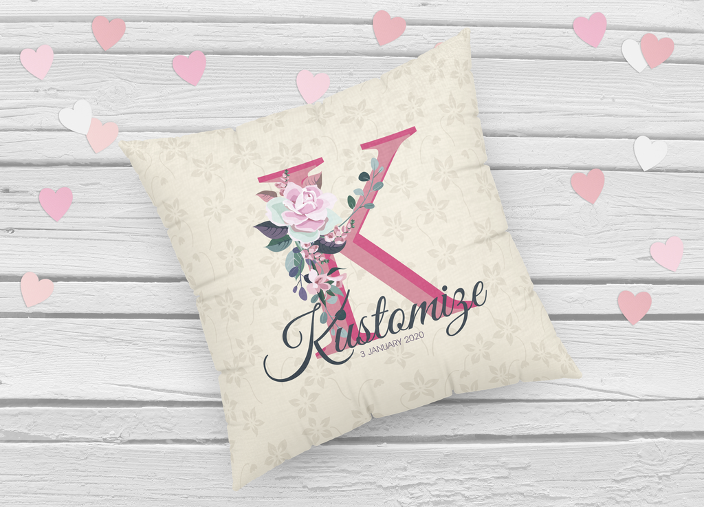 Personalized New Born Pillow- Pink Alphabet