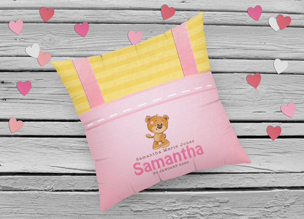 Personalized New Born Pillow- Pink Overalls