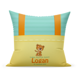 Personalized New Born Pillow- Yellow Overalls