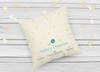 Personalized New Born Pillow- Teal Alphabet