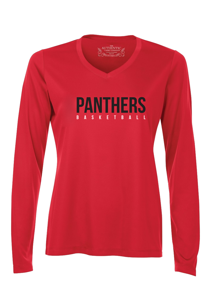 "VAUGHAN PANTHERS ""LEAGUE"" PRO TEAM PERFORMANCE Red LONG SLEEVE SHIRT- Ladies"