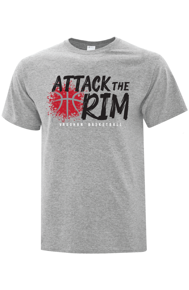 "Vaughan Panthers Everyday Cotton ""Attack The Rim"" Grey T-Shirt- Adult"