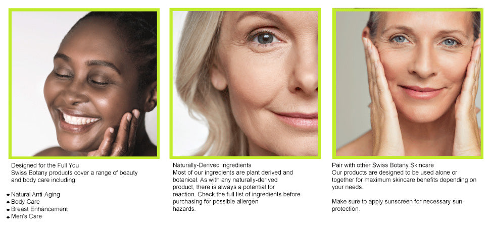 Pro-Age at Any Age Swiss Botany is a Pro-Age company focused on providing natural and safe alternatives for health and beauty to women and men who wish to age gracefully. Our products are formulated with naturally sourced, botanical ingredients so you can be sure to look and be your best, no matter your age!  Things to Know