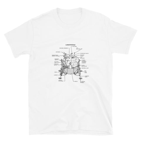 Apollo Lunar Lander Schematic T-Shirt - White - Black Cat Rocketry