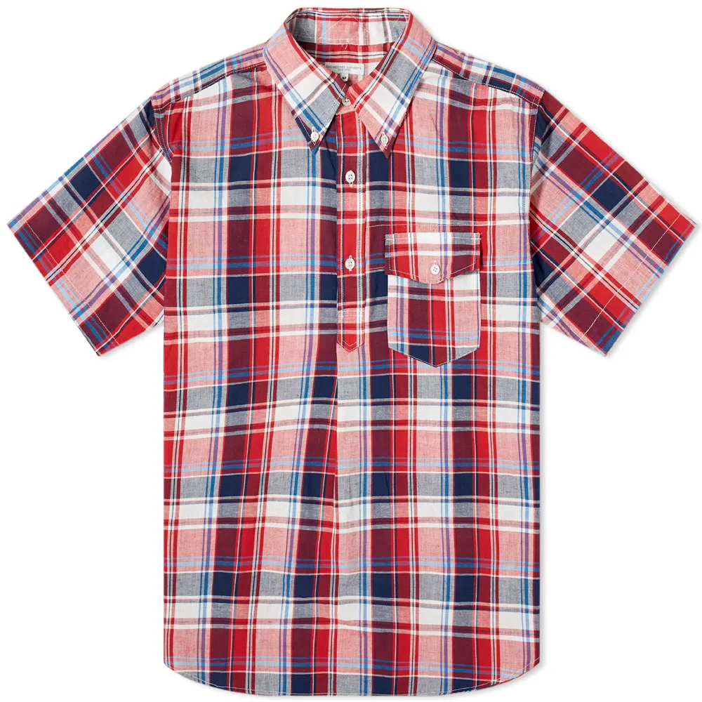 Madras Plaid Popover Shirt 'Red / Navy'