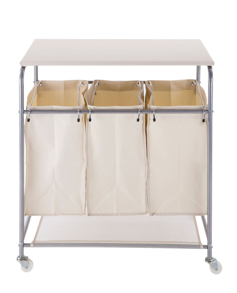 ... Laundry Sorter Clothes Hamper With Ironing Board On Wheels