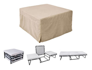 Ottoman Sleeper with Microfiber Cover and Memory Foam Pads Beige