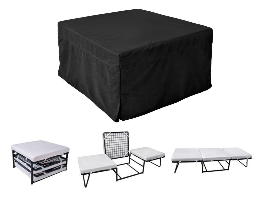 Ottoman Sleeper with Microfiber Cover and Memory Foam Pads Black