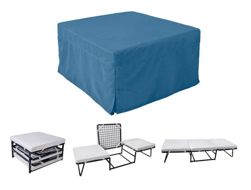 Ottoman Sleeper with Microfiber Cover and Memory Foam Pads Blue