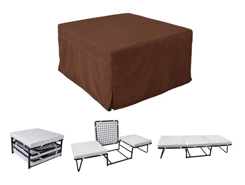 Ottoman Sleeper with Microfiber Cover and Memory Foam Pads Brown