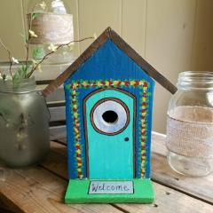 Blue Cottage Bird House