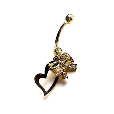 Belly Ring - 10 Karat Gold Bow And Heart