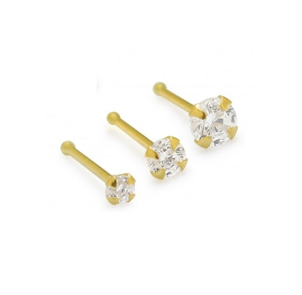 Nose Studs - 14 Karat Gold With Diamond Nose Bone