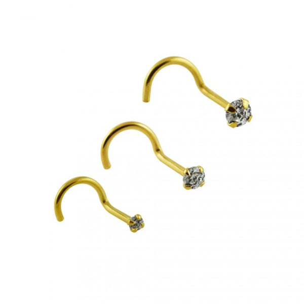 Nose Studs - 14 Karat Gold Nose Screws