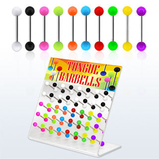 Display Of 40 Plain Coloured Tongue Barbells