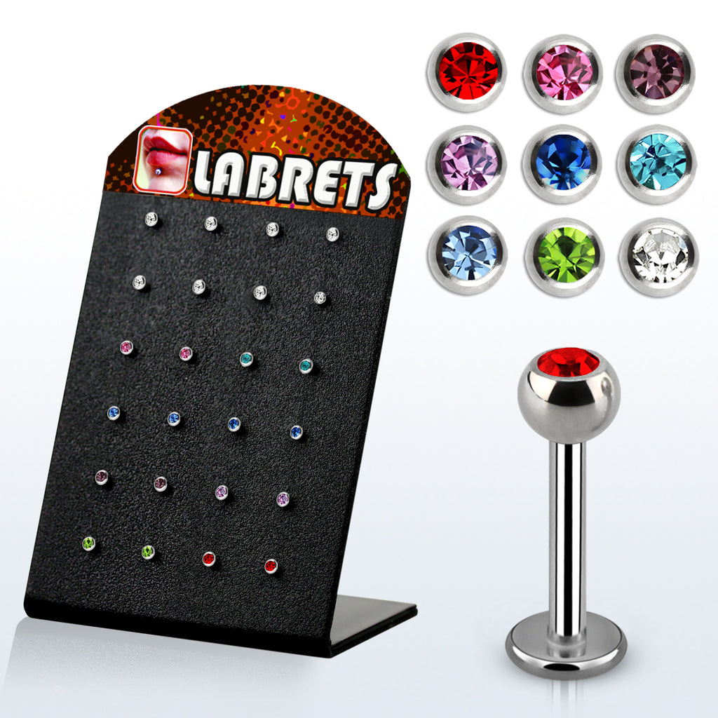 Display Of 24 Jewelled Labrets - Assorted Sizes