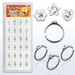 Nose Hoops - Heart/Flower/Star 1 Gem