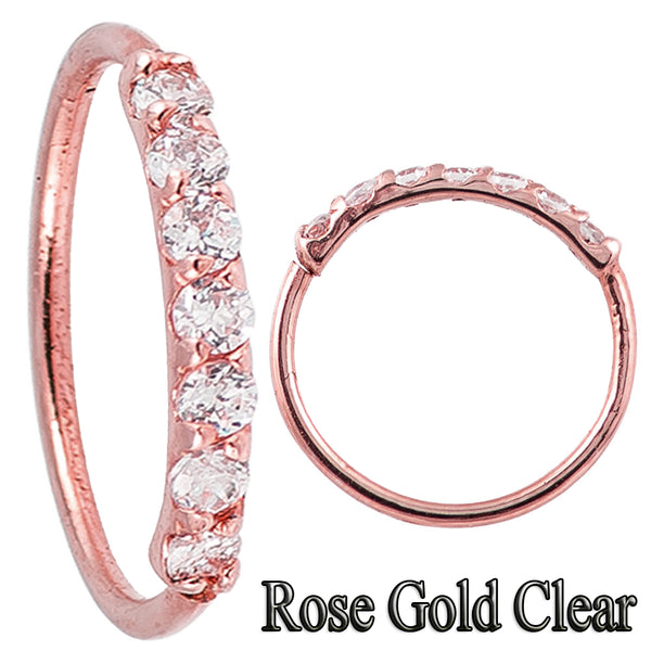 Nose Hoop - Gold Plated or Rose Gold With 7 Gems