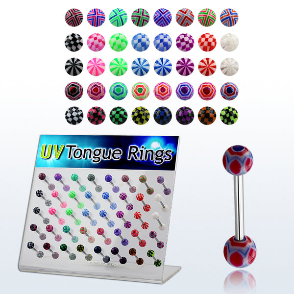 Display Of 40 Designed Tongue Barbells