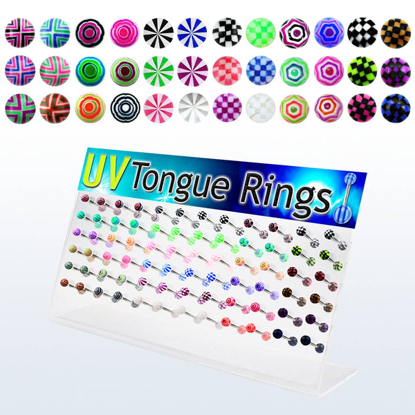 Display Of 72 Designed Coloured Tongue Barbells