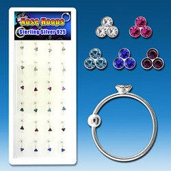 Nose Hoops - 3 Gem