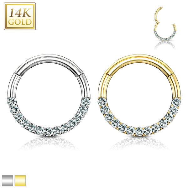 Cartilage - 14 Karat Gold Clicker With Gems